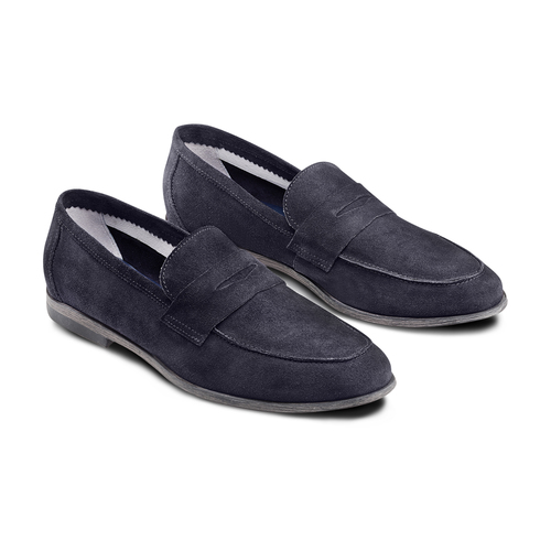 Mocassini in suede bata, blu, 853-9129 - 16