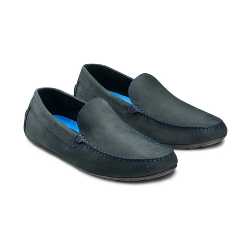 Mocassini in pelle bata, blu, 856-9151 - 16