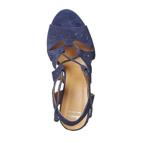 Sandali blu di pelle con tacco bata, blu, 763-9580 - 19