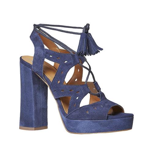 Sandali blu di pelle con tacco bata, blu, 763-9580 - 13
