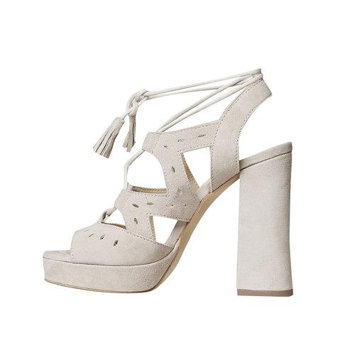 Sandali da donna in pelle con lacci bata, beige, 763-8580 - 26