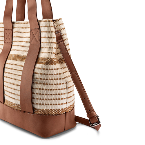 Shopper a righe bata, beige, 969-1301 - 15