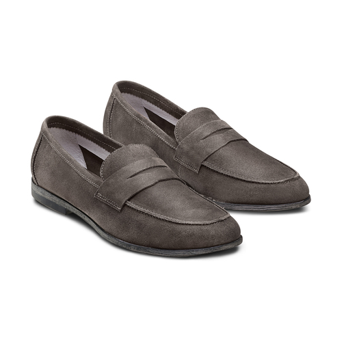 Mocassini in suede bata, grigio, 853-2129 - 16