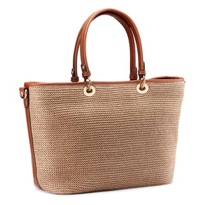 Shopper da dona in rafia bata, beige, 969-8297 - 13