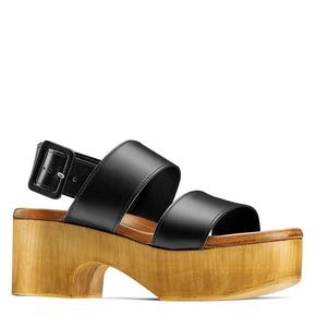 Sandali zeppa effetto legno bata, nero, 664-6369 - 13