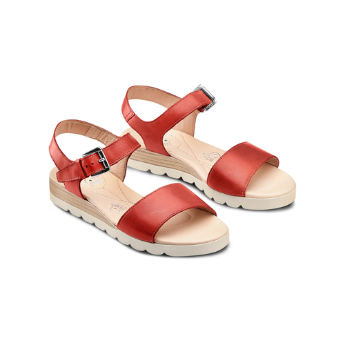 Sandali in pelle bata-touch-me, rosso, 664-5298 - 16