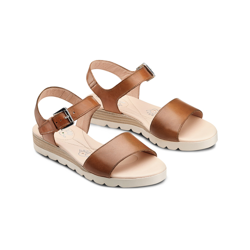 Sandali in pelle bata-touch-me, marrone, 664-3298 - 16