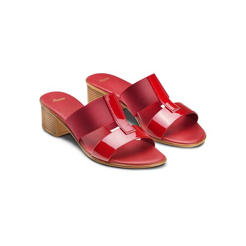 Ciabatte con tacco bata, rosso, 671-5835 - 16