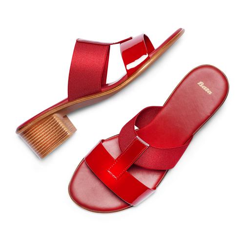 Ciabatte con tacco bata, rosso, 671-5835 - 26