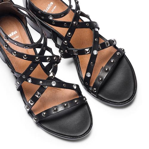 Sandali con borchie bata, nero, 664-6296 - 26