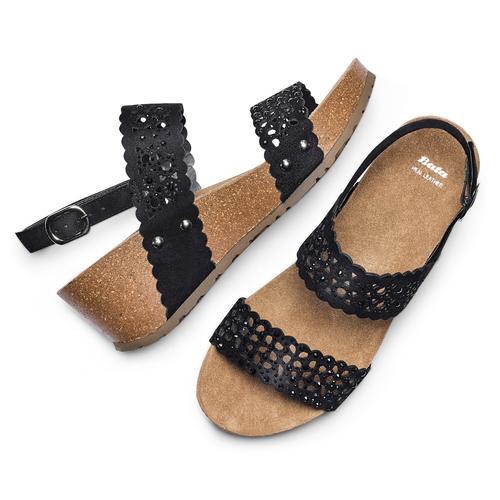Sandali traforati bata, nero, 669-6356 - 26