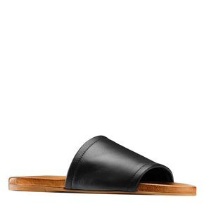 Ciabatte flat in pelle bata, nero, 564-6146 - 13