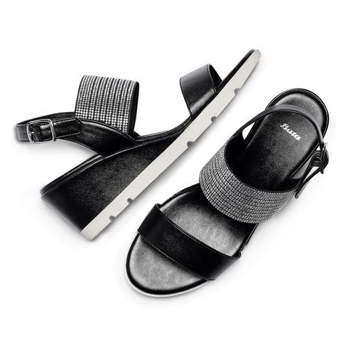 Sandali con strass bata, nero, 761-6321 - 26