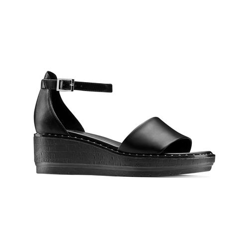 Sandali con zeppa bata, nero, 661-6354 - 13
