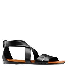 Sandali flat in pelle bata, nero, 564-6327 - 13