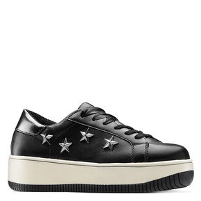Sneakers platform con stelle bata, nero, 541-6407 - 13