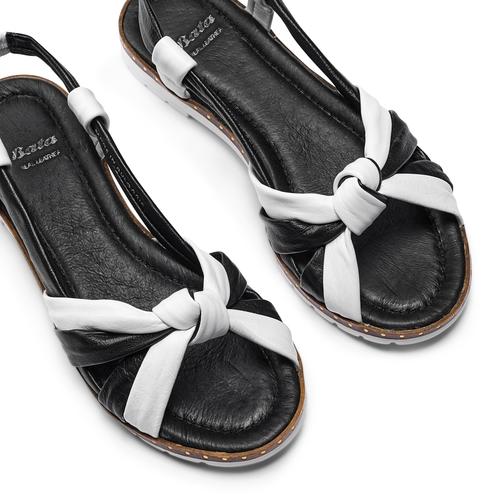 Sandali in vera pelle bata, nero, 564-6525 - 26