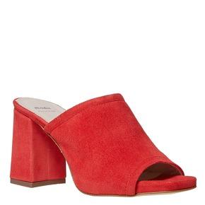 Slip-on da donna in pelle con tacco bata, rosso, 763-5578 - 13